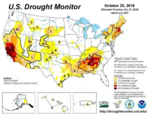 October 2016 US Drought Map